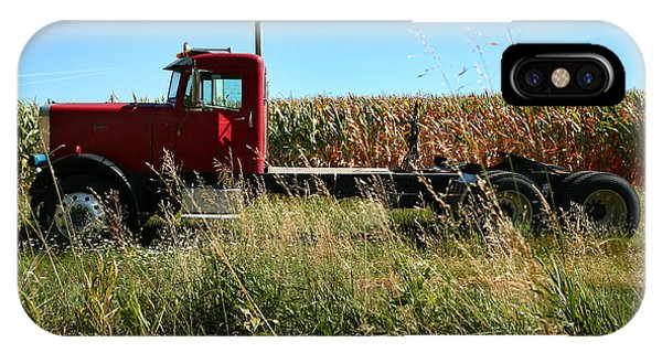 Red Truck In A Corn Field IPhone Case