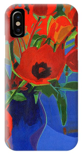 Red Tulips On Blue  IPhone Case