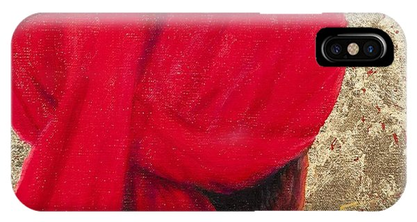 Head And Shoulders iPhone Case - Red Turban On Gold Leaf, 2014 Oil On Canvas With Gold Leaf by Lincoln Seligman