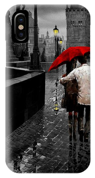 Mixed-media iPhone Case - Red Umbrella 2 by Yuriy Shevchuk