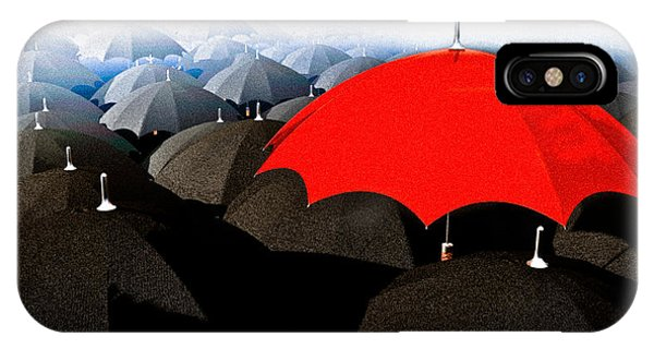 Free Will iPhone Case - Red Umbrella In The City by Bob Orsillo