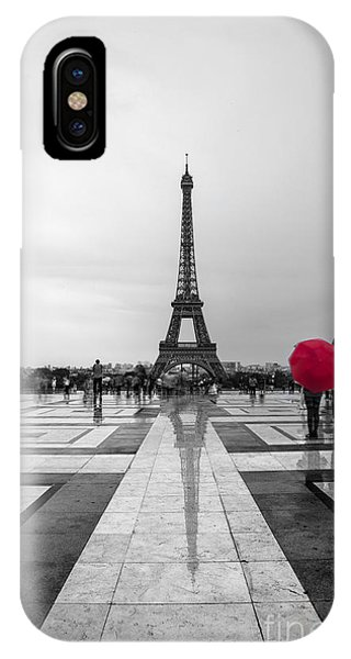Paris iPhone Case - Red Umbrella by Timothy Johnson