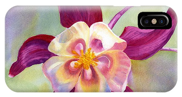 Violet iPhone Case - Red Violet Columbine With Background by Sharon Freeman
