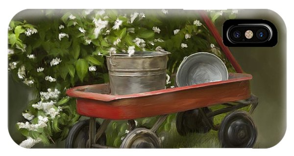 Shrub iPhone Case - Red Wagon by Lena Auxier