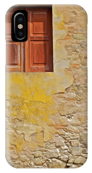 Red Weathered Wood Window Of The Medieval Village Of Obidos IPhone Case