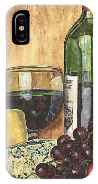 Red iPhone X Case - Red Wine And Cheese by Debbie DeWitt