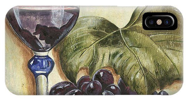 Cocktail iPhone Case - Red Wine And Grape Leaf by Debbie DeWitt