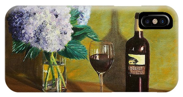 Red Wine And Hydrangea IPhone Case