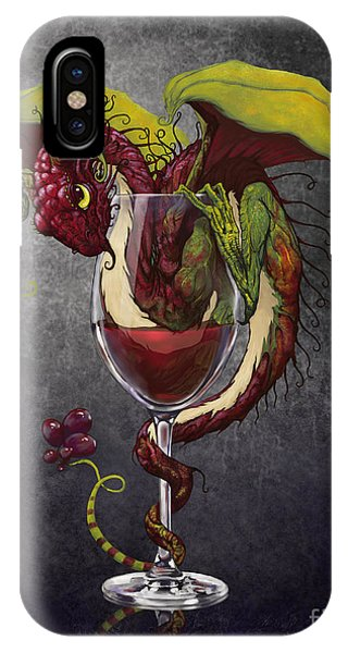 Red iPhone X Case - Red Wine Dragon by Stanley Morrison
