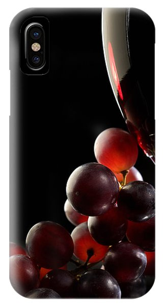 Glasses iPhone Case - Red Wine With Grapes by Johan Swanepoel
