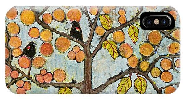 Blackbird iPhone Case - Red Winged Black Birds In A Tree by Blenda Studio