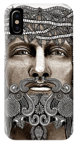 IPhone Case featuring the mixed media Redeemer - Modern Jesus Iconography - Copyrighted by Christopher Beikmann