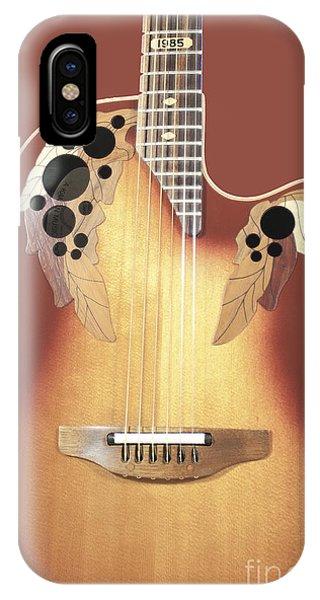 Redish-brown Guitar On Redish-brown Background IPhone Case