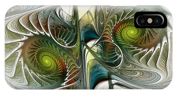Reflected Spirals Fractal Art IPhone Case