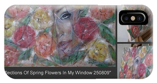 Reflections Of Spring Flowers In My Window 250809 IPhone Case