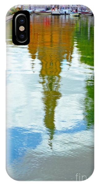 Park Bench iPhone Case - Reflections Of The Plaza De Espana  by Mary Machare