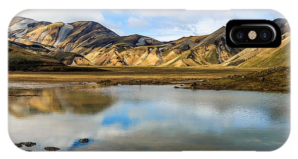 Reflections On Landmannalaugar IPhone Case