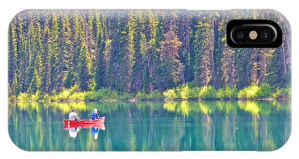 Reflective Fishing On Emerald Lake In Yoho National Park-british Columbia-canada  IPhone Case