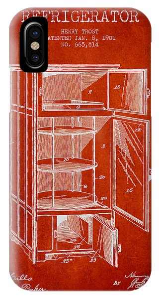 Freeze iPhone Case - Refrigerator Patent From 1901 - Red by Aged Pixel