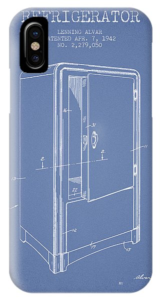 Freeze iPhone Case - Refrigerator Patent From 1942 - Light Blue by Aged Pixel