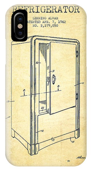 Freeze iPhone Case - Refrigerator Patent From 1942 - Vintage by Aged Pixel