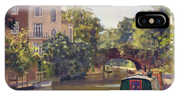 Moor iPhone Case - Regents Park Canal Oil On Canvas by Julian Barrow