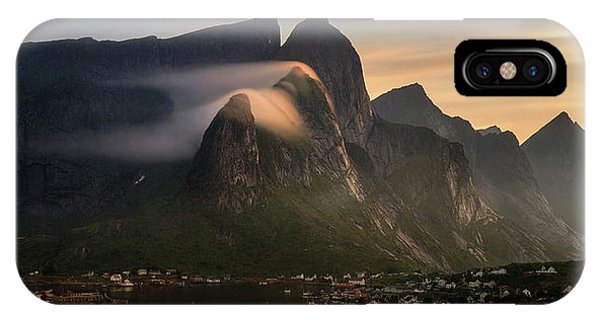 Reine Village With Mountains At Sunset IPhone Case