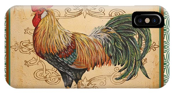 Renaissance Rooster-a-green IPhone Case