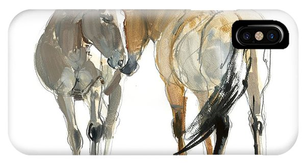 Sketch iPhone Case - Rencontre Przewalski, 2013, Watercolour And Pigment On Paper by Mark Adlington