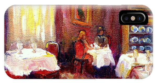Table For Two iPhone Case - Restaurant Interior Table For Two Romantic Dinner Carole Spandau by Carole Spandau