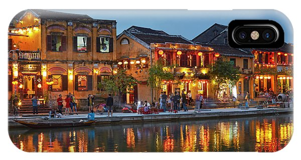 Restaurants Reflected In Thu Bon River Phone Case by David Wall