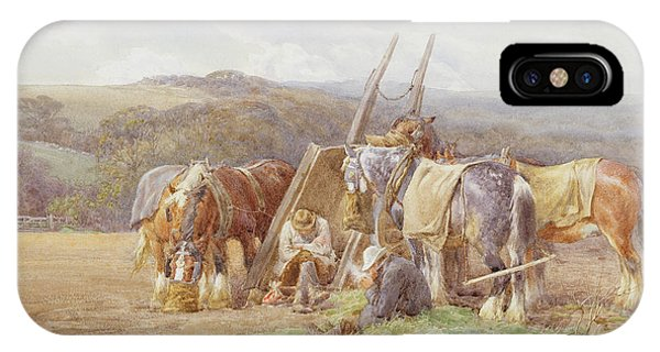 Plowing iPhone Case - Resting In The Field  by Charles James Adams