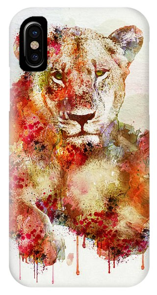 Resting Lioness In Watercolor IPhone Case