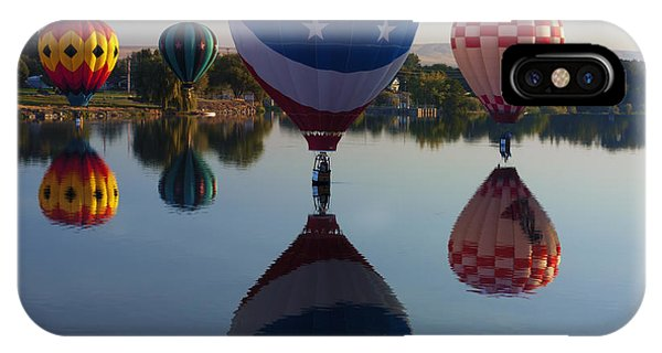 Hot Air Balloons iPhone Case - Resting On The Water by Mike  Dawson