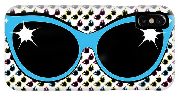IPhone Case featuring the digital art Retro Blue Cat Sunglasses by MM Anderson