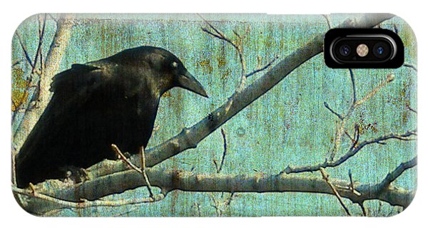 Avian iPhone Case - Retro Blue - Crow by Gothicrow Images