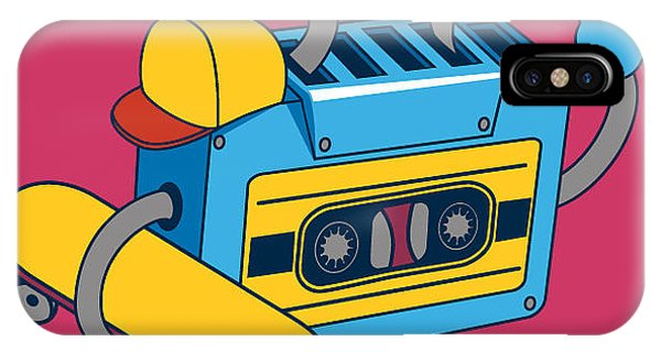 Musical iPhone Case - Retro Cassette, Skater Character Design by Braingraph