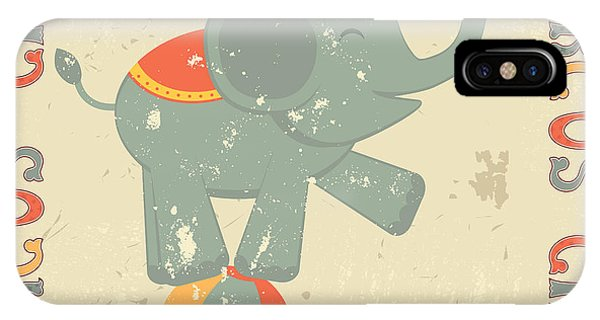Retro Circus Poster With Elephant Phone Case by Olga draw