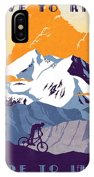 retro cycling poster Live to Ride Ride to Live  IPhone Case