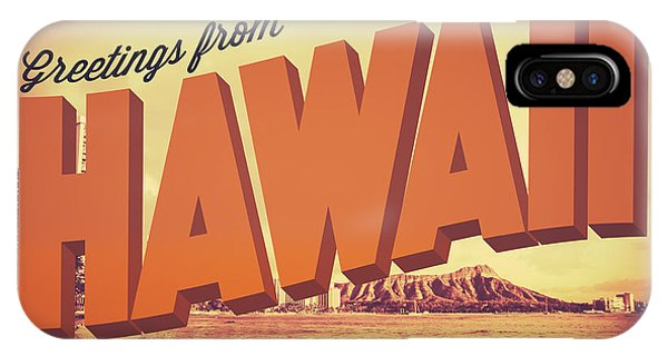 Hawaii iPhone Case - Retro Greetings From Hawaii Postcard by Mr Doomits