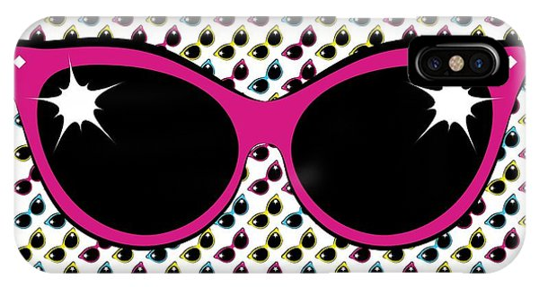 IPhone Case featuring the digital art Retro Pink Cat Sunglasses by MM Anderson