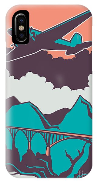 Scenery iPhone Case - Retro Poster With Airplane. Vector by Radoman Durkovic