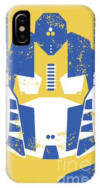 Texture iPhone Case - Retro Robot Headmask Illustration by Andy Fox