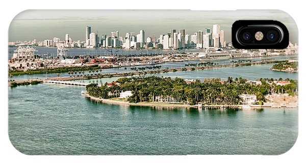 Retro Style Miami Skyline And Biscayne Bay IPhone Case
