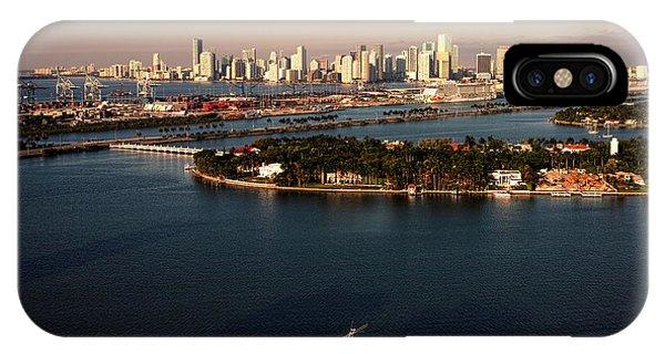 Retro Style Miami Skyline Sunrise And Biscayne Bay IPhone Case