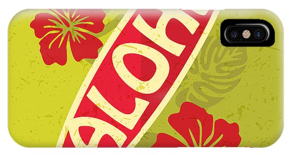 Hawaiian iPhone Case - Retro Surfing Typographical Poster With by Zakharchenko Anna