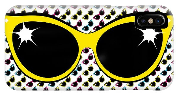 IPhone Case featuring the digital art Retro Yellow Cat Sunglasses by MM Anderson