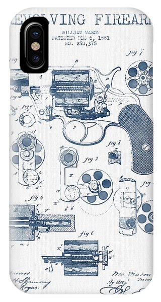 Weapons iPhone Case - Revolving Firearm Patent Drawing From 1881 -  Blue Ink by Aged Pixel