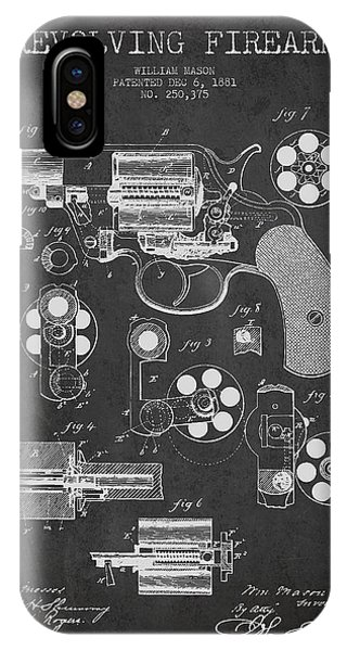 Weapons iPhone Case - Revolving Firearm Patent Drawing From 1881 - Dark by Aged Pixel