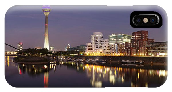 Gehry iPhone Case - Rheinturm Tower And Gehry Buildings by Panoramic Images